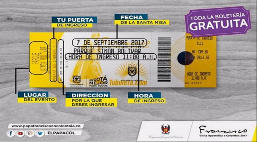 Esta es la boleta para asistir a la Sagrada Eucaristía con el Papa Francisco en Cartagena