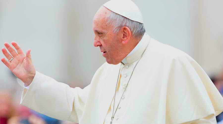 El Papa Francisco durante la Audiencia. Foto: Daniel Ibañez